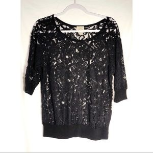Black lace top 3/4 sleeve sheer floral crochet